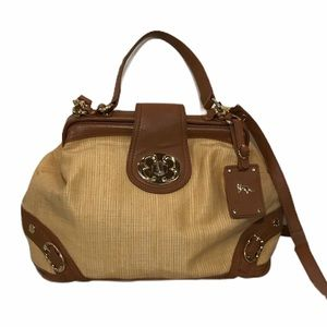 Emma Fox Straw Leather Frame Doctor Bag Satchel